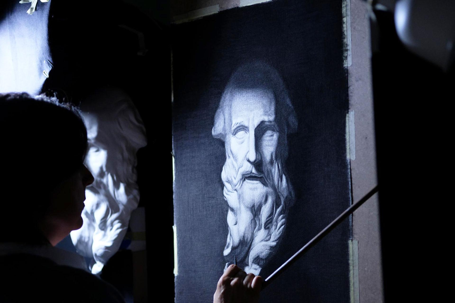 academy cast zeichnung 01 - Charcoal cast drawing